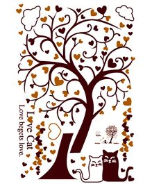 Studio Briana Love Cats Under Tree With Heart Leaves Wall Decal -Brown