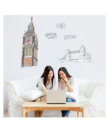 Studio Briana London Clock Tower And Bridge Wall Decal - Multi Color