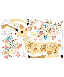 Studio Briana Horned Deer Vector Art Wall Decal - Multi Color