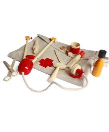 Aatike Toys Wooden Doctor Play Set With Doctor Bag - Multi Color