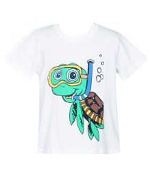 Hugs N Tugs Turtle Scuba Print T-shirt - White