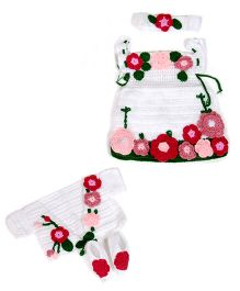 Baby Knit Floral Dress & Booties Set