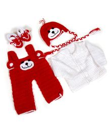 The Original Knit Puppy Dungaree & Booties Set