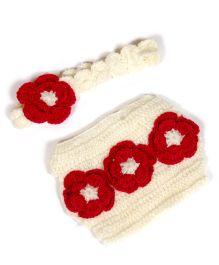 The Original Knit Floral Diaper Cover & Headband Set