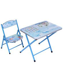 Study Table With Chair Alphabet And Sea World Print - Blue