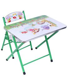 Study Table With Chair Alphabet And Animal Print - Green