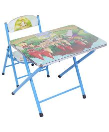 Study Table With Chair Castle Print - Blue And Green