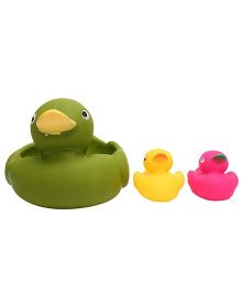 Baby Bath Toys Duck Shape Pack Of 3 - Green Yellow Pink