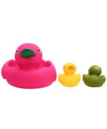 Baby Bath Toys Duck Shape Pack Of 3 - Pink Yellow And Green