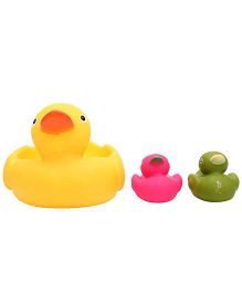 Baby Bath Toys Duck Shape Pack Of 3 - Yellow Pink And Green