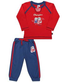 Mickey T-Shirt And Track Pant Champion Print - Red Blue