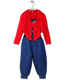 Mickey Denim Jumpsuit With Shrug - Red Blue