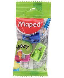 Maped Pencil Sharpener Boogy Blister Pack Of 3 - Green Pink & Blue