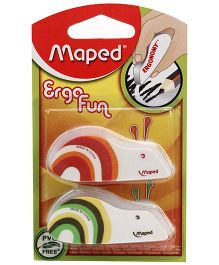 Maped Ergo Fun Blister Eraser Pack Of 2 - Orange And Green