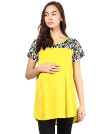 Mine4Nine Half Sleeve Maternity Top Printed Shoulder - Yellow