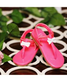 D'chica Shoes Pink T-Strap Sandals With White Bow