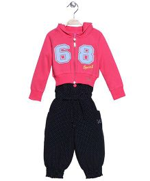 Mickey Polka Dots Jumpsuit With Hoodie - Pink Black