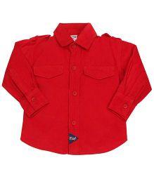 Little Kangaroos Plain Full Sleeves Shirt - Dark Red
