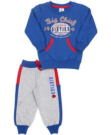Mickey T-Shirt And Track Pant Big Chief Print - Blue Grey