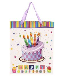 ShopAParty Happy Birthday Design Gift Bag White Purple - 1 Piece