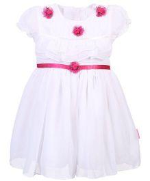 Chocopie Short Sleeves Net Frock - White