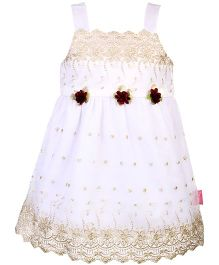 Chocopie Singlet Style Embroidery Net Frock - Gold & White