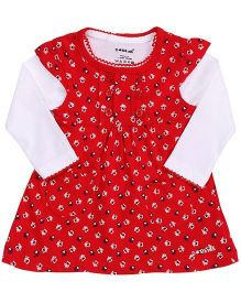 Doreme Cap Sleeves Frock With Inner Top Floral Print - Red White