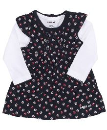 Doreme Cap Sleeves Frock With Inner Top Floral Print - Navy White