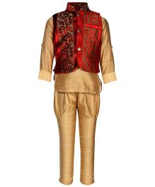 Little Bull Ethnic Kurta Pajama Designer Jacket Set - Maroon Beige