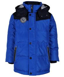 Sela Full Sleeves Jacket With Hood - Blue And Black