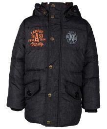 Sela Full Sleeves Jacket With Hood Campus Varsity Print - Dark Grey