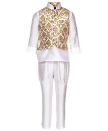 Little Bull Ethnic Kurta Pajama Jacket Set - Yellow White