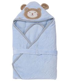 1st Step Hooded Wrapper Bear Embroidery - Blue