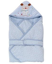 1st Step Hooded Wrapper Owl Embroidery - Blue