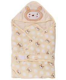 1st Step Hooded Wrapper Animal Embroidery - Cream
