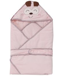 1st Step Hooded Wrapper Animal Embroidery - Pink