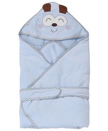 1st Step Hooded Wrapper Animal Embroidery - Blue