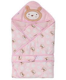 1st Step Hooded Wrapper Animal Embroidery - Light Pink