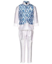 Little Bull Ethnic Kurta Pajama Jacket Set - Blue White