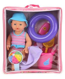 Hamleys Calinou Beach Baby Doll Set Pink - 29 cm