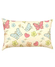 Stybuzz Butterflies Pattern Baby Pillow - Cream