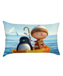 Stybuzz Kid With Penguin Baby Pillow - Blue