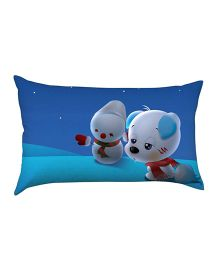 Stybuzz Puppy With Snowman Baby Pillow - Blue