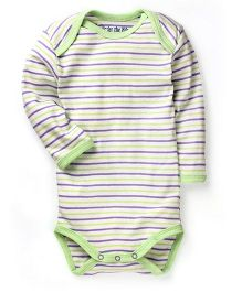 Under The Nile Long Sleeves Babybody Stripe Pattern - Kiwi Lilac
