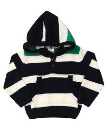 Babyhug Full Sleeve Hooded Sweatshirt Stripe Pattern - Green Blue And White