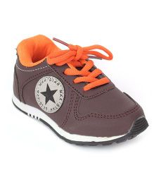 Cute Walk Sports Shoes Lace Tie-Up Star Patch - Brown And Orange