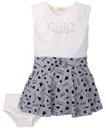 Fox Baby Sleeveless Frock With Bloomer - White And Grey