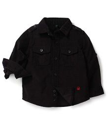 United Colors of Benetton Full Sleeves Solid Color Shirt - Black