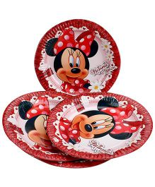Disney Minnie Mouse Paper Plate Red - Diameter 8.6 Inches