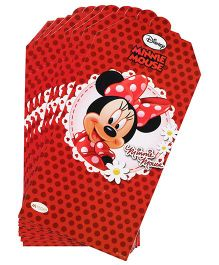 Minnie Mouse Invitation Card Pack Of 10 - Red